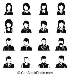 estilo, pessoas, jogo, ícones, simples, vário