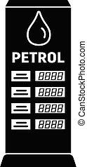 estilo, petrol, imposto, simples, tábua, ícone