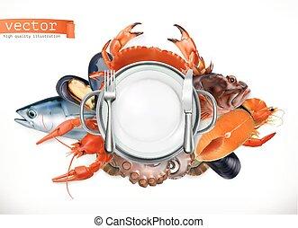 estilo, pez, alimento, pulpo, mejillones, vector, mar, icono...