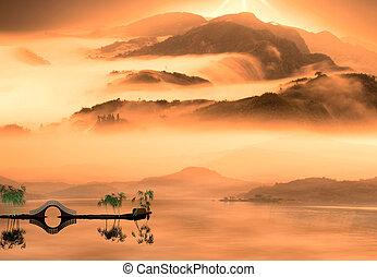 estilo, pintura, chino, paisaje