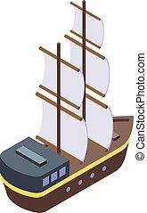 estilo, pirata, icono, isométrico, mar, barco