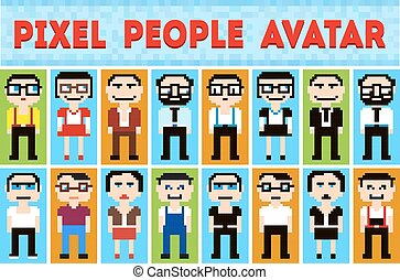 estilo, pixel, ícones