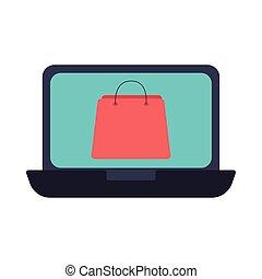 estilo, plano, bolsa, computador portatil, compras, icono