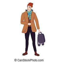 estilo, plano, otoño, hat., aislado, moderno, moderno, ilustración del hombre, ropa de calle, character., caricatura, estudiante, casual, vector, moda, ropa, joven, calle