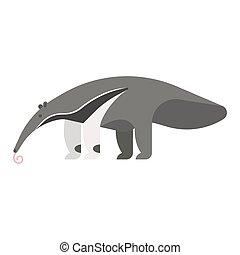 estilo, plantilla, ilustración, anteater., vector, plano