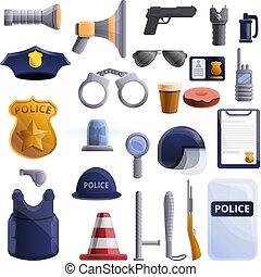 estilo, polícia, ícones, jogo, equipamento, caricatura