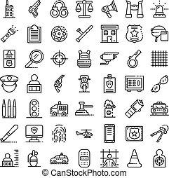 estilo, polícia, esboço, ícones, jogo, equipamento