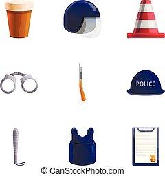 estilo, polícia, jogo, equipamento, caricatura, ícone