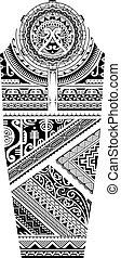estilo, polynesian, manga, tatuaje