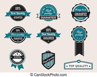 estilo, prêmio, vindima, retro, qualidade, emblemas, garantia