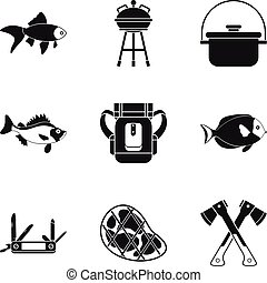 estilo, pratos, ícones, jogo, peixe, simples