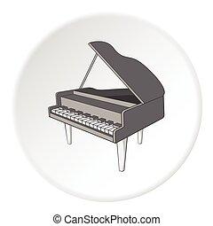 estilo, pretas, grandioso, ícone, piano, caricatura