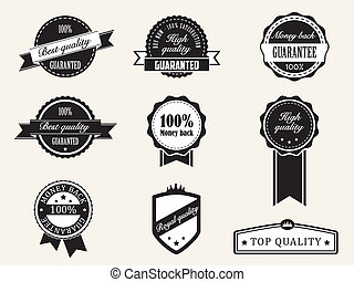 estilo, prima, vendimia, retro, calidad, insignias, garantía