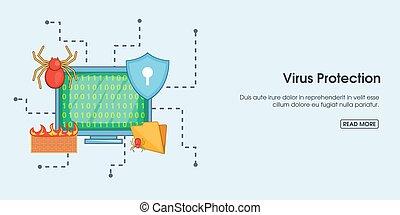 estilo, protección del virus, horizontal, bandera, caricatura