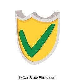 estilo, protector, amarillo, verde, icono, garrapata, caricatura