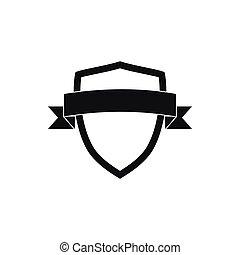 estilo, protector, simple, negro, icono, cinta blanca