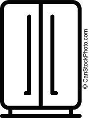 estilo, puerta, contorno, doble, refrigerador, icono