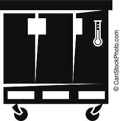 estilo, puerta, simple, tres, icono, refrigerador