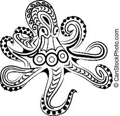 estilo, pulpo, polynesian