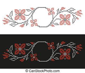 estilo, punto de cruz, bordado, ucranio