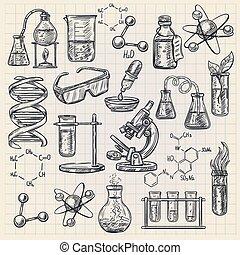 estilo, química, icono, garabato