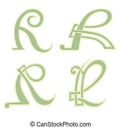 estilo, r, letra velha, capital