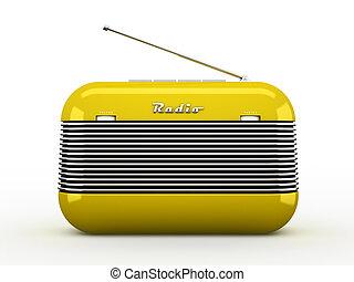 estilo, radio, retro, receptor, viejo, aislado, amarillo, ...