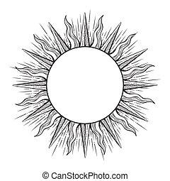estilo, rayos, aguafuerte, sol, marco, ilustración, mano, ...