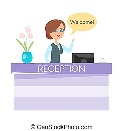 estilo, receptionist., hotel, ilustración, vector, caricatura