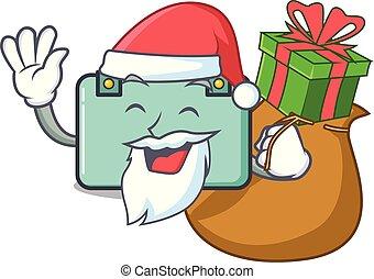 estilo, regalo, santa, maleta, caricatura, mascota