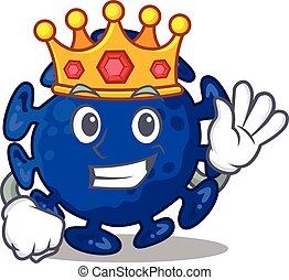 estilo, rei, sábio, mascote, streptococcus, desenho