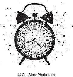 estilo, reloj, alarma, ilustración, vector, retro, grungy