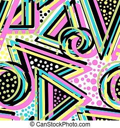estilo, resumen, geométrico, seamless, memphis, neón, fondo...