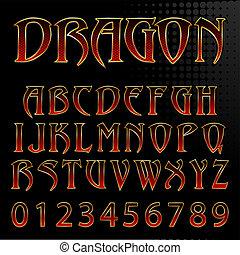 estilo, resumen, ilustración, dragón, vector, fuente