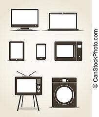 estilo, resumen, moderno, adminículos, technics, cocina