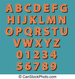 estilo retro, alphabet., vector, illustration.