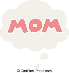 estilo, retro, bolha, pensamento, mãe, caricatura, palavra