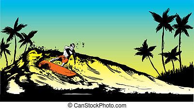 estilo retro, cena praia, com, shortinho, tábua, surfista, ilustração
