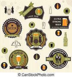 estilo, retro, desenho, cerveja, etiquetas, emblemas