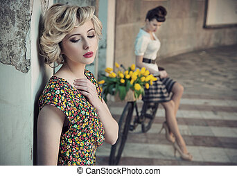 estilo retro, foto, de, dos, joven, bellezas