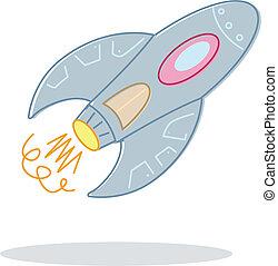 estilo retro, juguetee cohete, ilustración