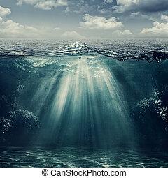 estilo retro, marina, paisaje, con, vista submarina