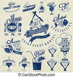 estilo, retro, menu, vindima, restaurante