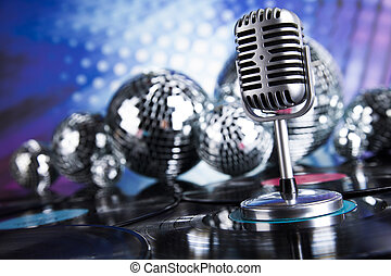 estilo retro, micrófono, música, plano de fondo