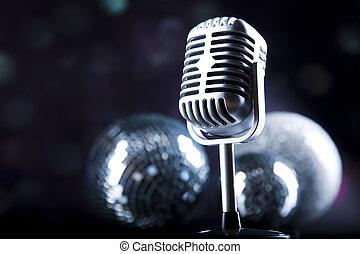 estilo retro, micrófono, música, plano de fondo, música, saturado, concepto