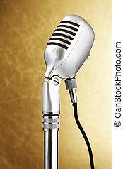 estilo retro, microphone., oro, plano de fondo