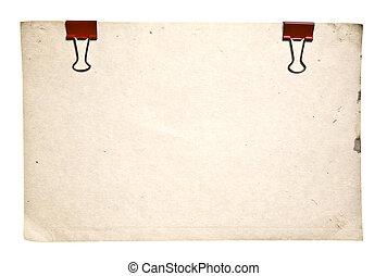 estilo retro, papel, con, rojo, clips