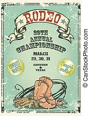 estilo retro, rodeo, poster.