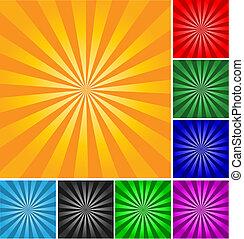 estilo retro, vector, resumen, fondo., diferente, colores, y, gradients.