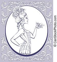 estilo, rococo, mulher jovem, alinhado